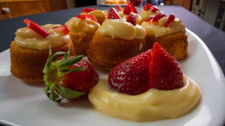 Almond Cupcakes filled with Homemade Vanilla Custard